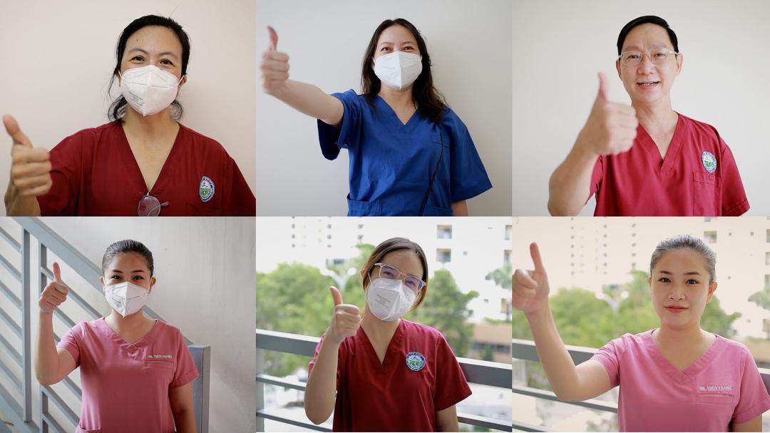 Các ca sĩ, bác sĩ tự quay hình trong MV. Ảnh: Huỳnh Thanh Trâm