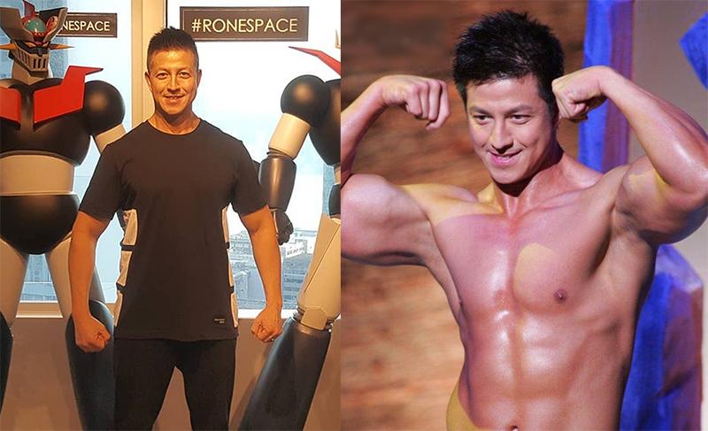Trịnh Kiện Nhạc ở tuổi ngũ tuần (trái) và khi thi Mr. Hong Kong năm 2005. Ảnh: HK01