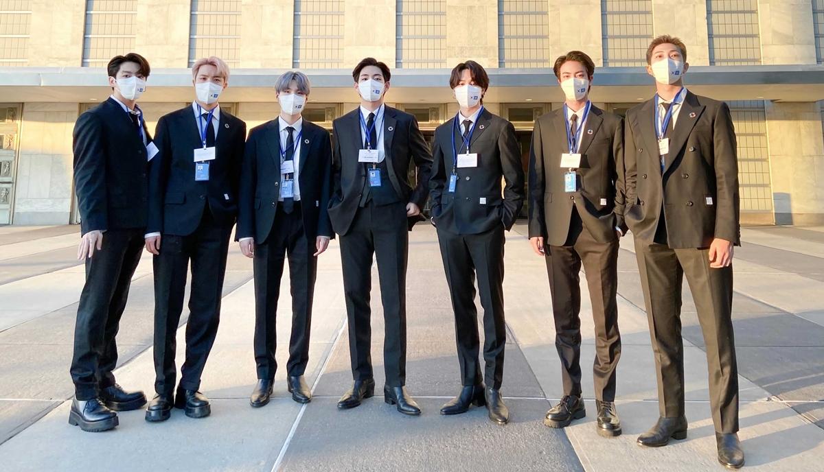 BTS tại trụ sở Liên hợp quốc. Ảnh: Hybe