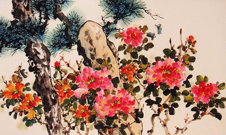 Đề tài các loài hoa chiếm phần lớn tranh Trương Hán Minh. Ảnh: Vietkings