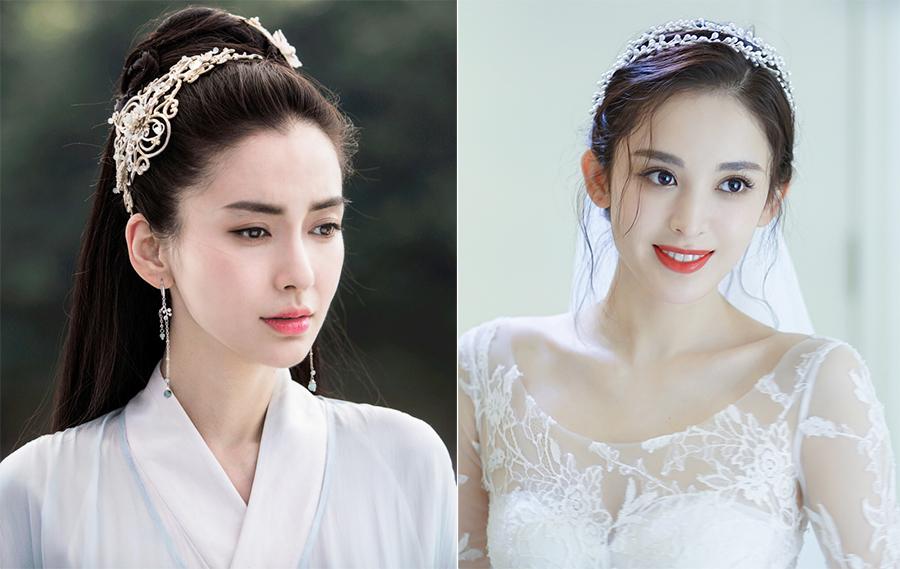 Angelababy (trái) và Cổ Lực Na Trát, hai diễn viên bị trang Sohu chê mặt đẹp, diễn đơ năm 2017. Ảnh: Sohu