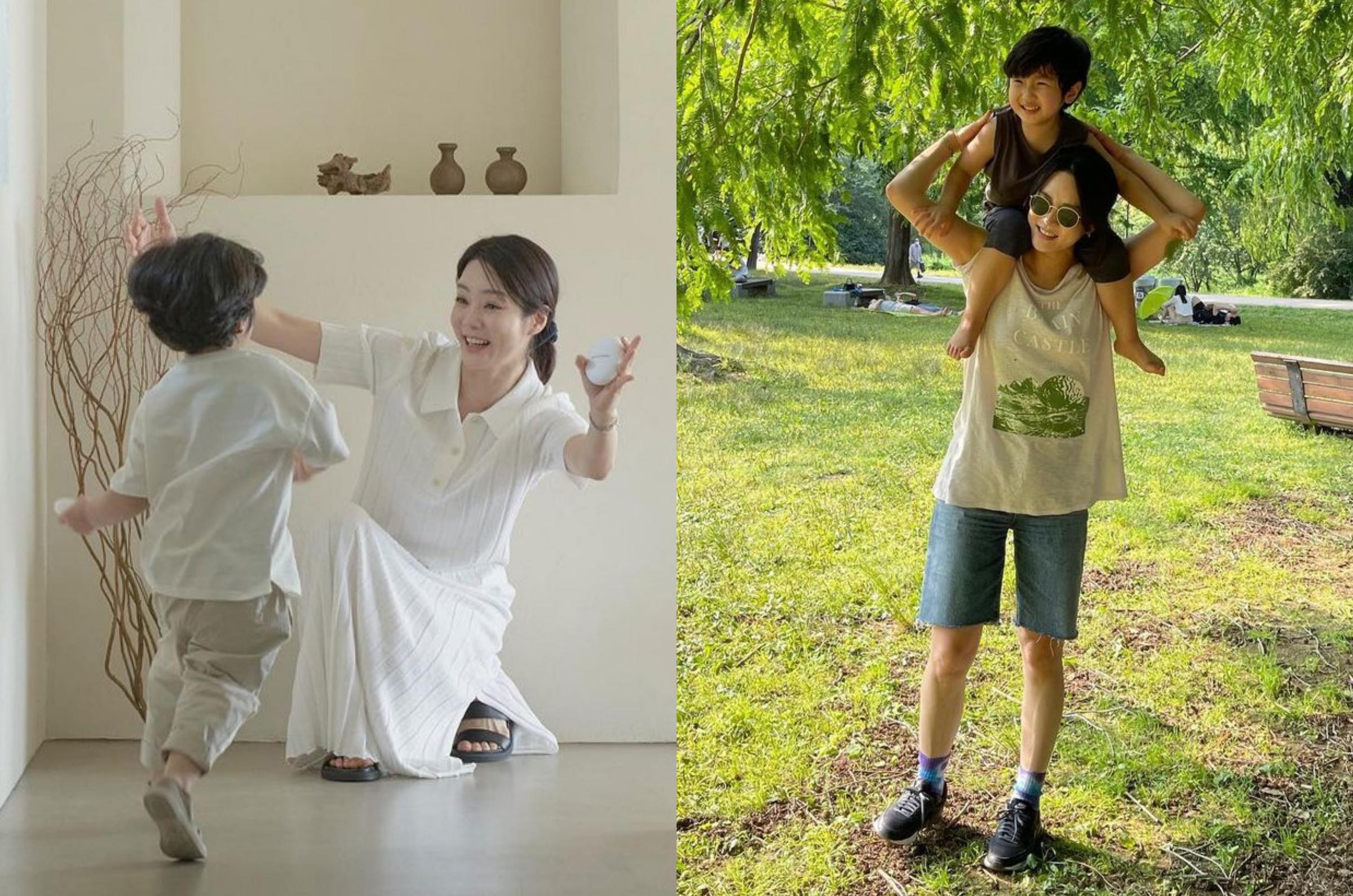 Chae Rim khen con trai tình cảm, mỗi lần cô buồn, bé thường ôm mẹ và an ủi. Ảnh: Instagram Chaelim_328