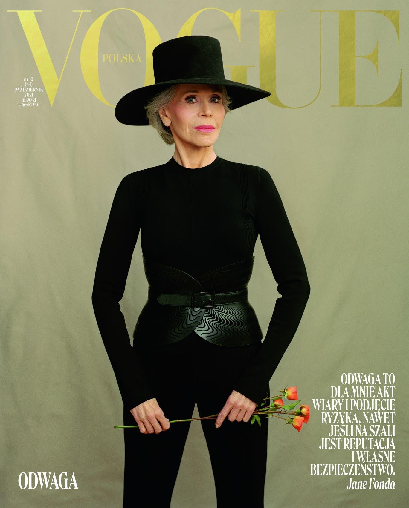 Diễn viên Jane Fonda trên bìa Vogue số tháng 10. Ảnh: Vogue