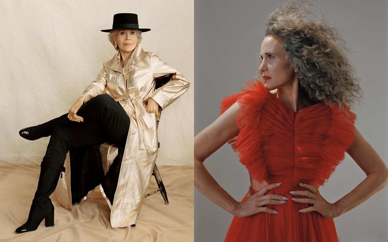 Diễn viên Andie MacDowell (phải) khoe nhan sắc ở tuổi 63 bên Jane Fonda. Ảnh: Vogue
