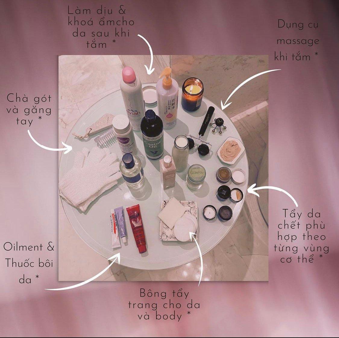 Các sản phẩm chăm sóc da buổi tối của Linh Rin. Ảnh: Instagram Linh Rin