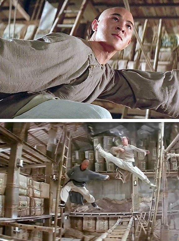 Lý Liên Kiệt bị gãy chân khi đóng Hoàng Phi Hồng (1991), cảnh võ thuật của anh ở cuối phim do ba Long hổ võ sư đóng thế. Ảnh: Xinhua