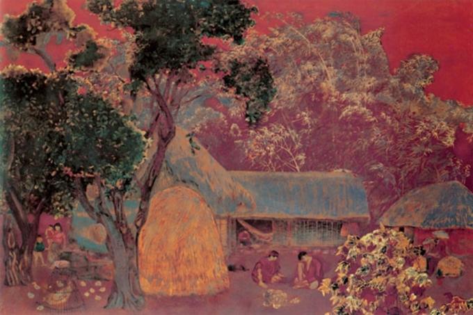 Tác phẩm Nhà tranh gốc mít được trưng bày tại Bảo tàng Mỹ thuật Việt Nam. Ảnh: Bảo tàng Mỹ thuật Việt Nam