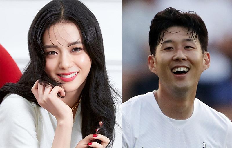 Jisoo và cầu thủ Son Heung Min. Ảnh: YNA