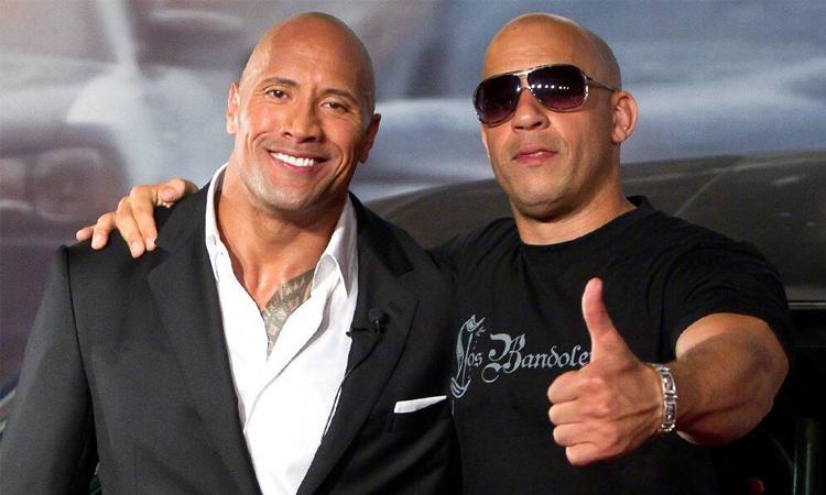 The Rock (trái) và Vin Diesel thời còn làm việc chung. Ảnh: LatinContent